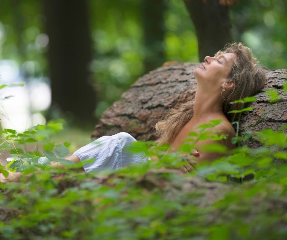 nature healing image of a woman forest